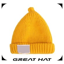 2014 latest soft yellow knitted funny winter hats for baby