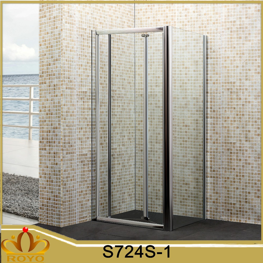 satin aluminium alloy profile bathroom bifold shower door with side panel