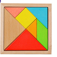 Children natural beech Wood Educational Geometric Tangram Puzzle Square Toys