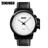 New arrival skmei 1208 wrist watch mens leather with simple white dial