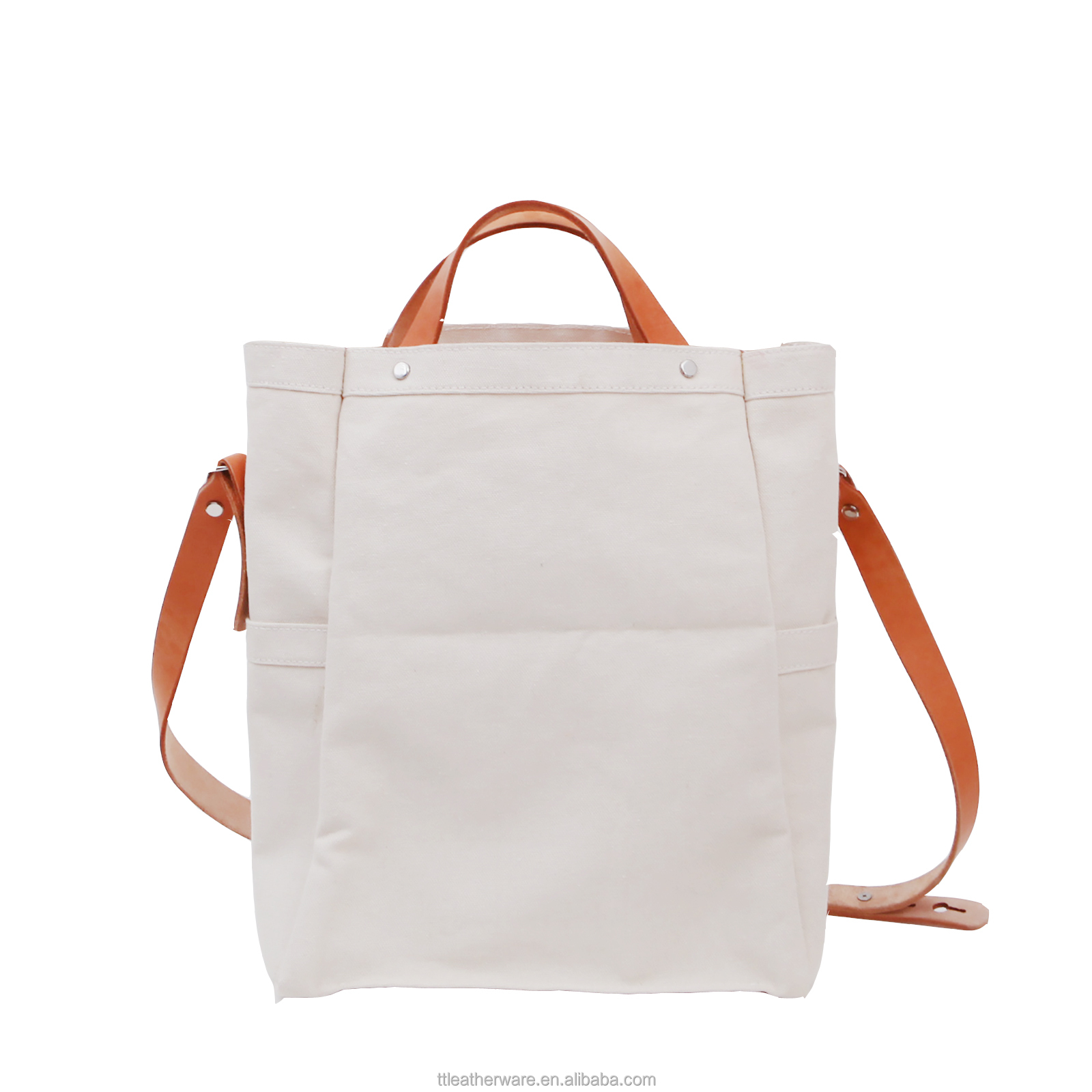 Linen Jute Canvas Tote Bag with Natural Leather Straps