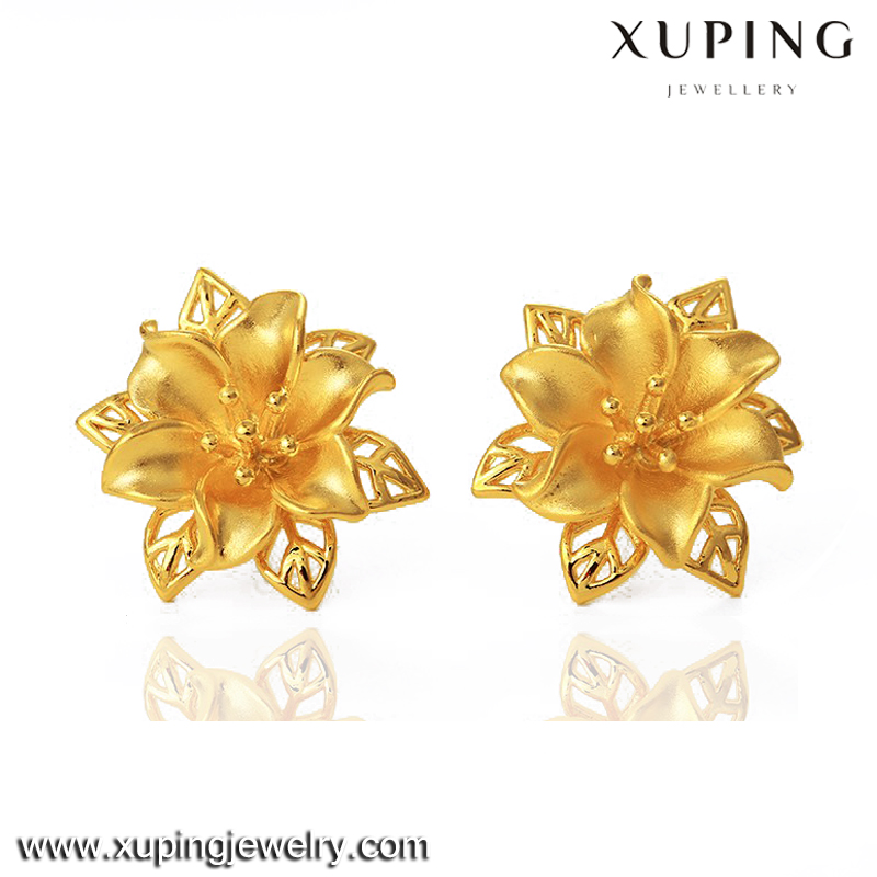 joyeria Xuping gold 24K innovative flower earrings for women