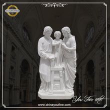 White Marble Carving Virgin Mary and Baby Jesus Statue