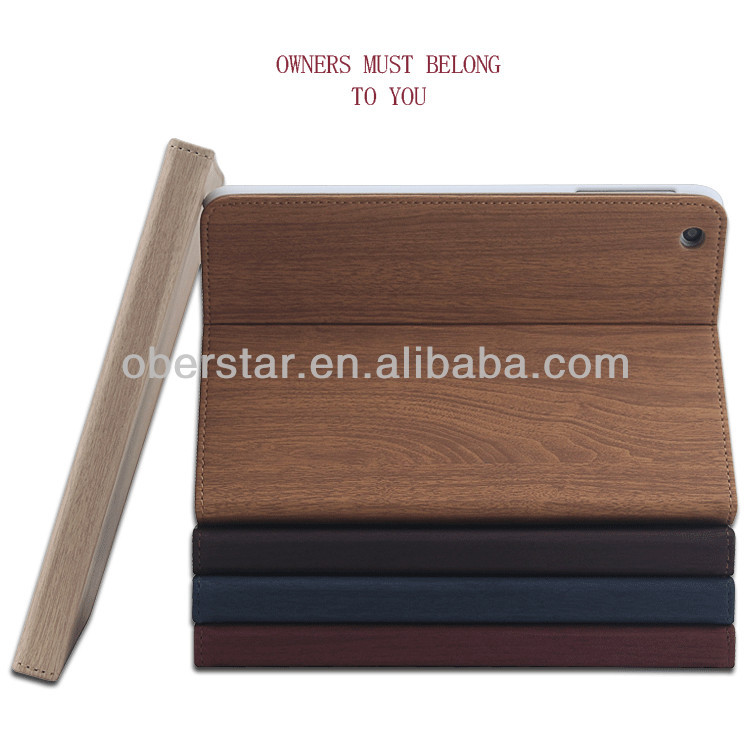 New Fashion Wood Grain Series Smart PU Leather Cover Case Skin Stand For ipad mini