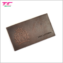 Custom Embossed Leather Label Brown Genuine Leather Labels For Jeans
