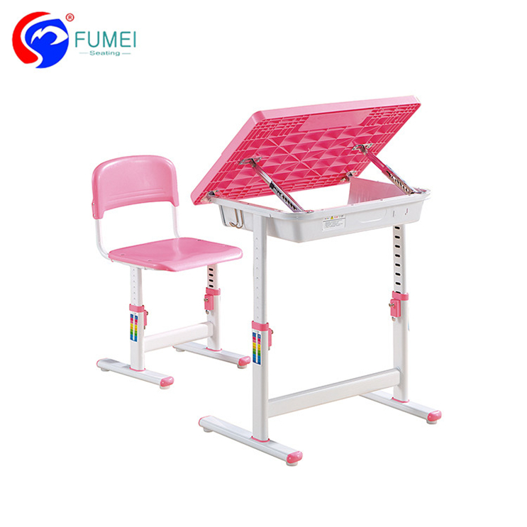 Primary Plastic School Student Adjustable Table Desk And Chair