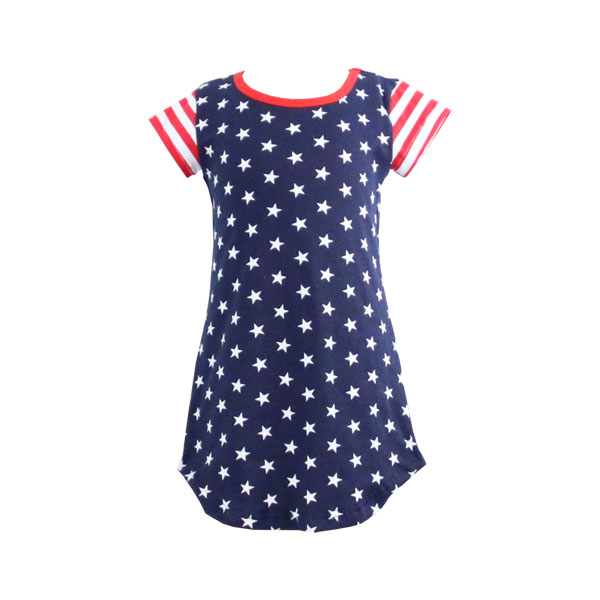 New Design Summer Kids Clothing for 4th of July Wholesale Children's Boutique Clothing Girls Patriotic Dresses