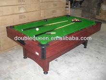 carved billiard table with black plastic top and side corner