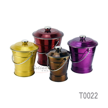 Home Use Rice Storage Barrel Colorful Metal Stainless Steel Food Bucket with Lip