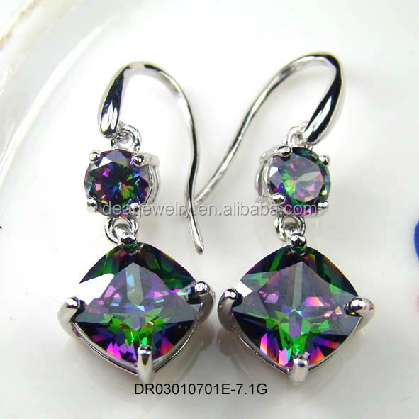 High Quality 100% 925 Sterling Silver Mystic Topaz Earrings For Wedding , Silver Topaz Jewelry Accepted By paypal DR03010701E