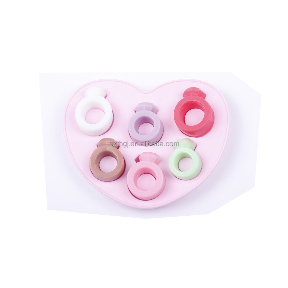 Fashion design baking tools 6 love ring shaped silicone ice mold ice cube tray for Valentine's Day