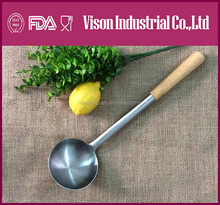 Restaurant KITCHENWARE soup ladle/SPOON Stainless steel with wooder grip not silicon kitchenware