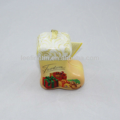 Christmas sock shape gift tin