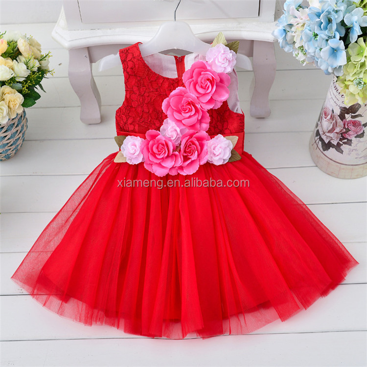 Girl frock design sleevess indian babies girl dress 2-6 years party