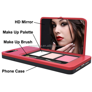 DANYCASE Shockproof makeup phone case with colorful eye shadow palette/compact mirror/plastic cover for iphone 8 plus(RED)