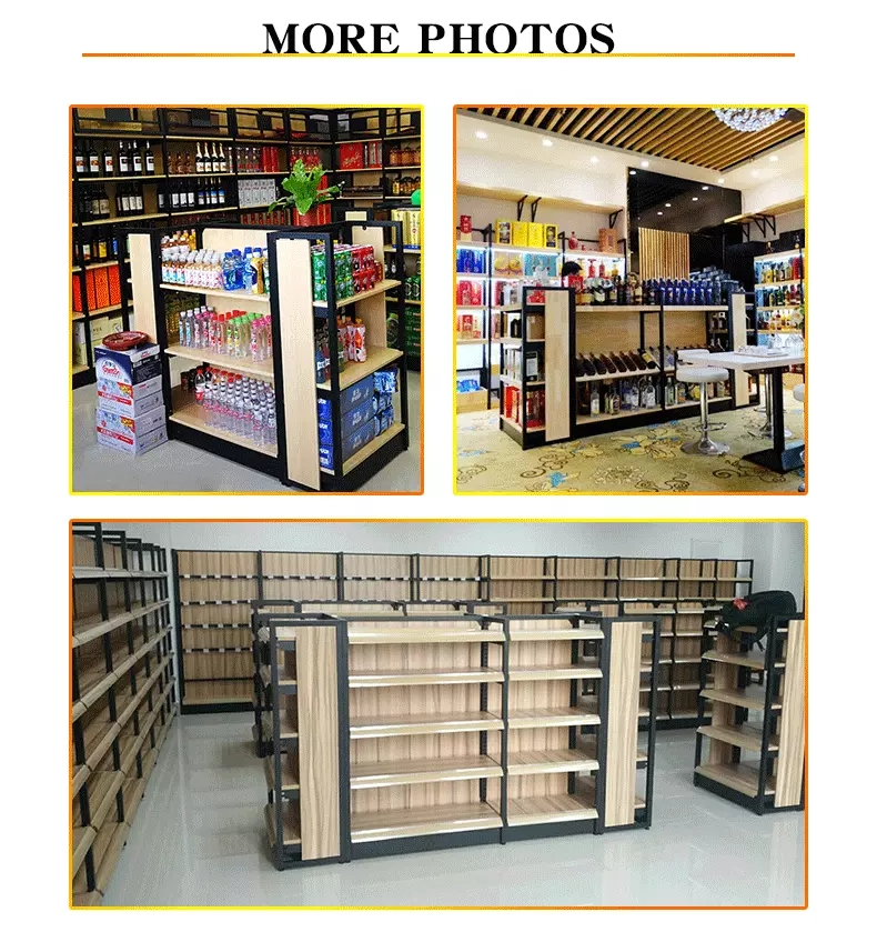 Wholesale Grocery Store supermarket display shelf wood and metal shelf