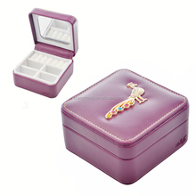 Colorful Leather Square Jewellery Box with Peacock Crown Butterfly and Flower