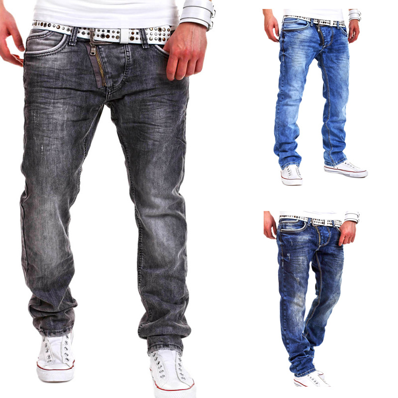 mens fancy latest design fashion jeans model rockstar wide leg urban with zipper biker pants