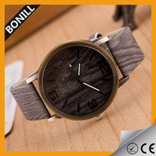2016 hot sale wooden watches alloy golden case genuine leather wooden china factory cheap watch