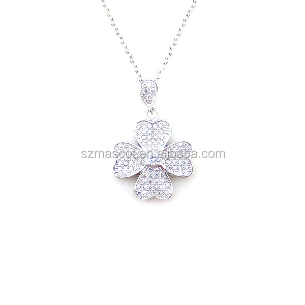 Fashion Flower Design Jewelry 925 Sterling Silver Pendant
