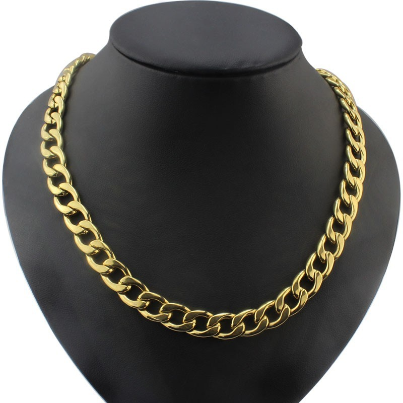 Fashion jewelry manufacturer stainless steel 18k gold plated heavy curb chain necklace for men and women
