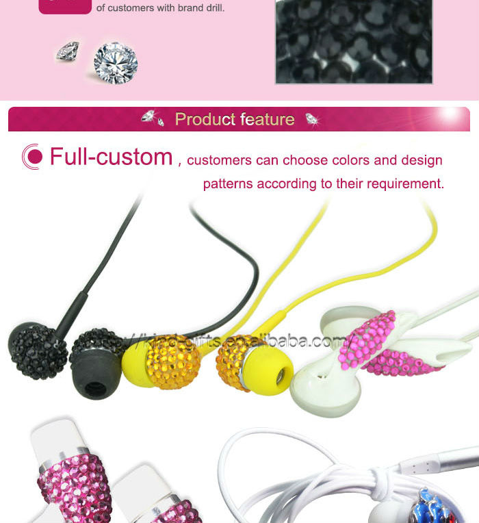 High Quality Stereo Earphones With Inset Crystal Stones w/ Carrying Case