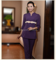Newest cotton material SPA and women beauty salon uniform