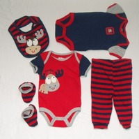 five piece set baby romper with bib, sock and pants