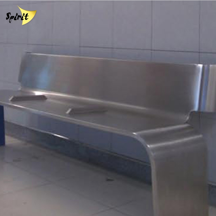 customized stainless steel peculiar corridor long bench wait chair visitor