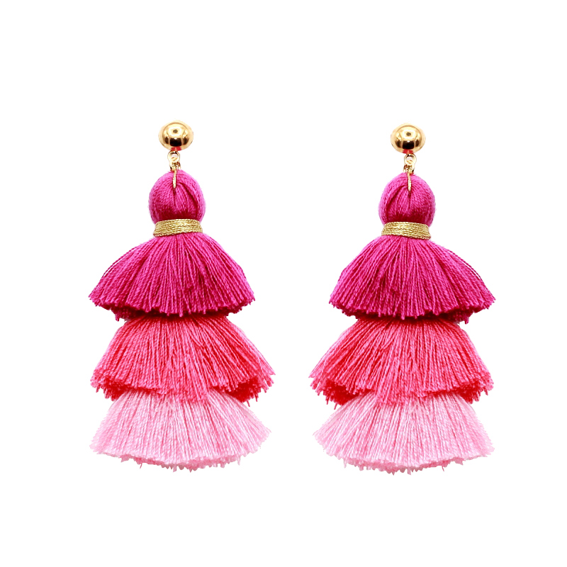 2017 New Design Boho Style Statement Umbrella Shape Silk Thread Wholesale Tassel Earrings For Women