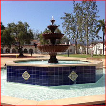 Public stone square garden granite 4 tier water bowl fountain with octagon surrounding