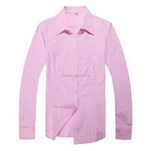 Pink Oxford Long Sleeve Uniform Open Neck Flat Packing Blouses Shirts
