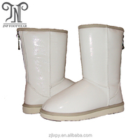 Women winter white genuine leather knee boots