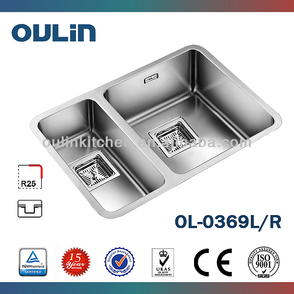Undermount Double Bowl Round Corner Kitchen Sink