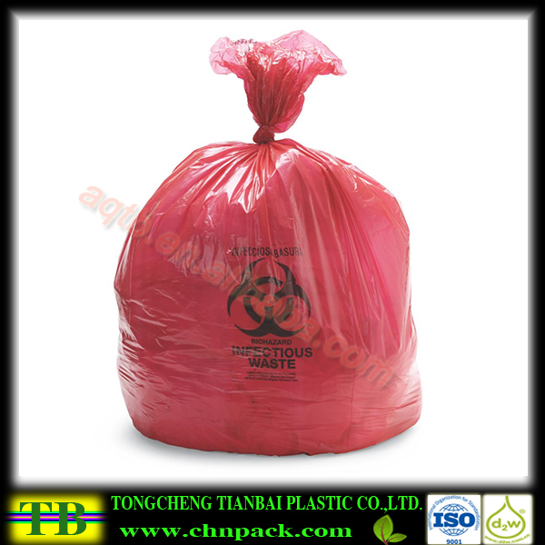 15 gallon red rolled medical waste bag
