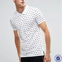 China factory wholesale mens all over dot print 100% cotton polo shirts