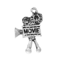 "Charm Pendants Film Projector Antique Silver ""Movie"" Carved 26mm x 16mm"