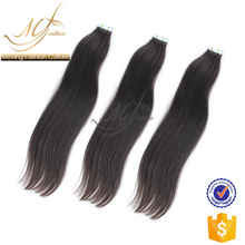 Real unprocessed indian straight wavy hair tape extensions
