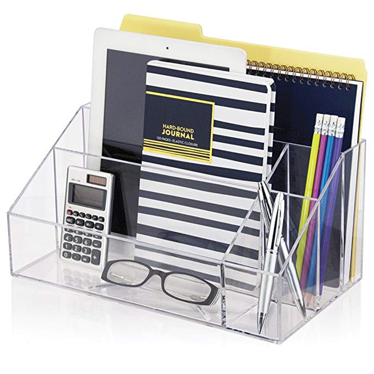 Factory Premium Quality Office Accessories Desktop Storage Caddy Divider Acrylic Desk Organizer Set