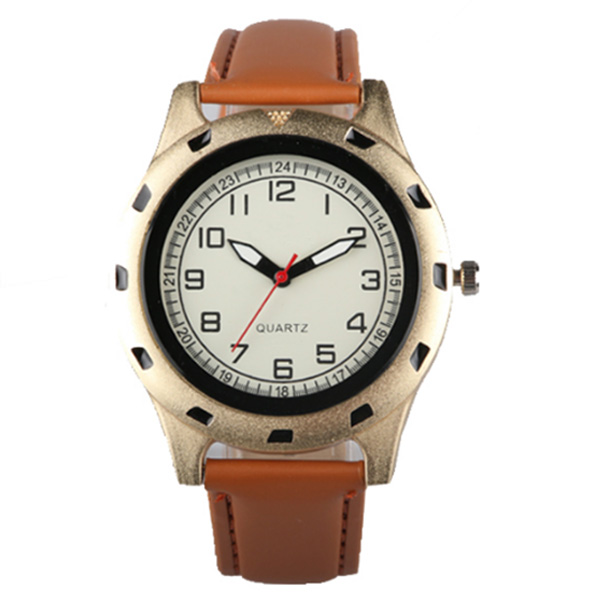 Trendy hot no brand name stainless steel case genuine leather japan quartz men watch