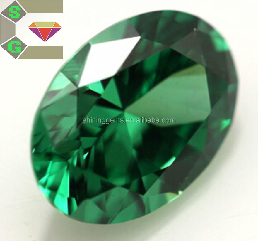 Top quality oval diamond cut precise cutting green cz loose zircon gemstone fake gems for decorating