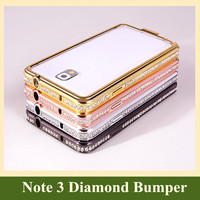 2015 Capa Para Luxury Crystal Rhinestone Diamond Bling Metal Aluminum Bumper Frame Protective Case for Samsung Galaxy Note 2 3 4