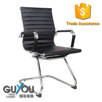 Classic visitors chair in BLACK or White PU leather With Chrome arms with protective arm sleeves with zip available
