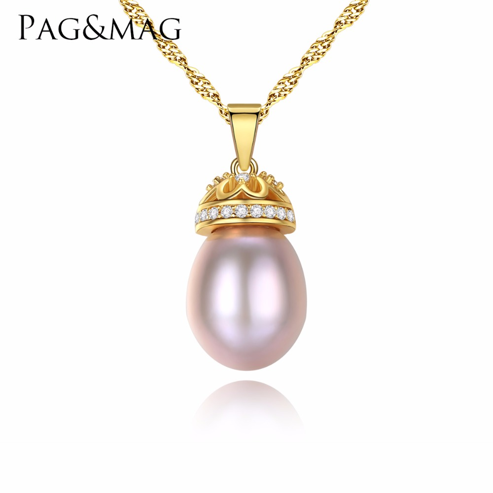 PAG&MAG Hot Sale 8-9mm Water Drop Freshwater Pearl Pendants Necklace With 45cm 925 Silver Chain Birthday Gift for Girlfriend