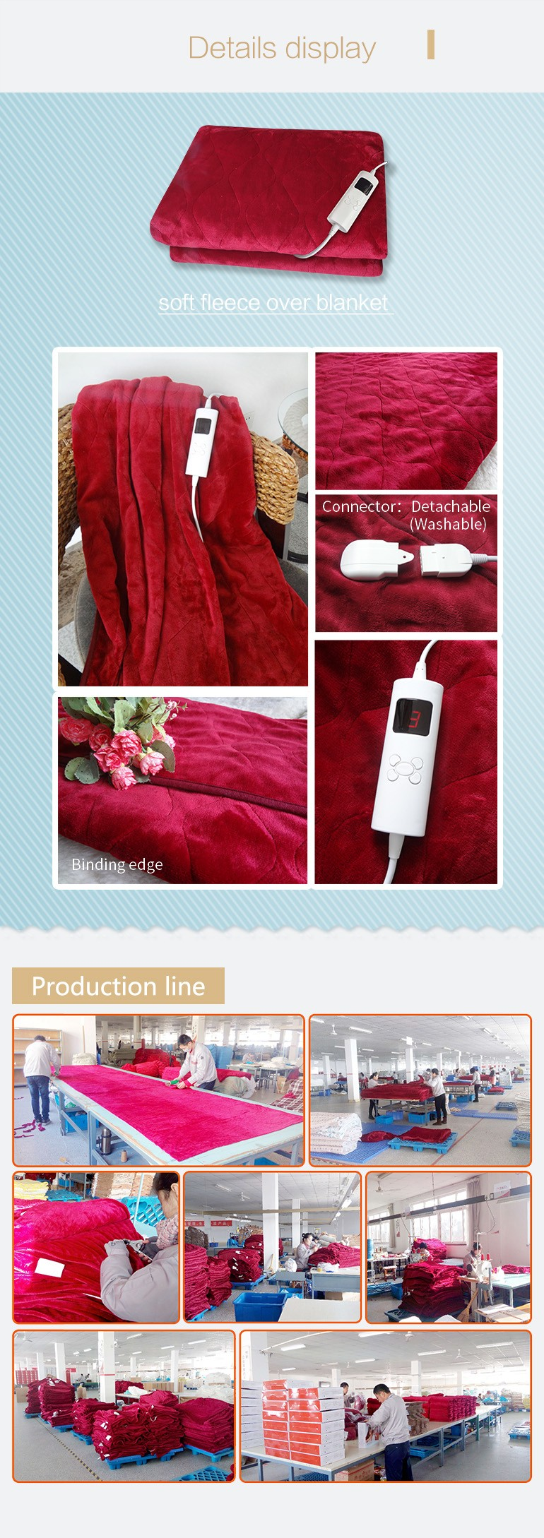Good Quality Custom 220-240v Heating Electric Blanket For Export