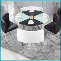 F3001# Round temper glass negotiation table and chair 1+4