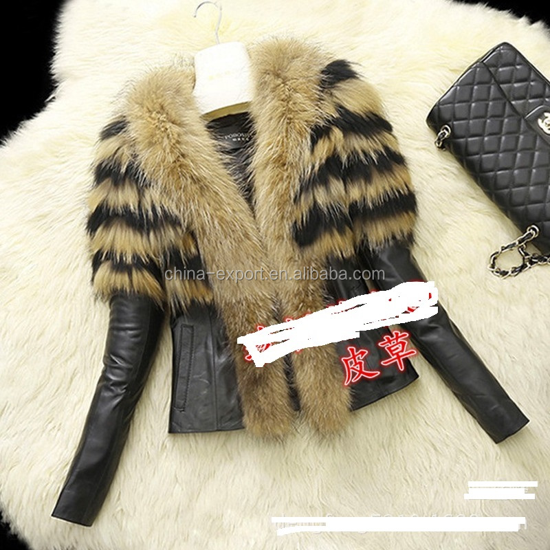 JPFURCOAT36 2017 Latest Design Women Short PU Fox Faux Fur Coat