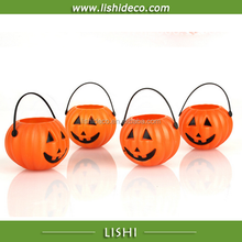 cheap decorative Halloween pumpkin basket plastic buckets