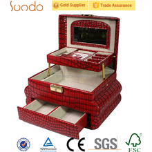 luxury red makeup train case, model train display case for cosmetics