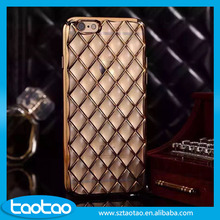 Diamond patterns soft tpu+electroplating pc case for iphone 6 6s with update design
